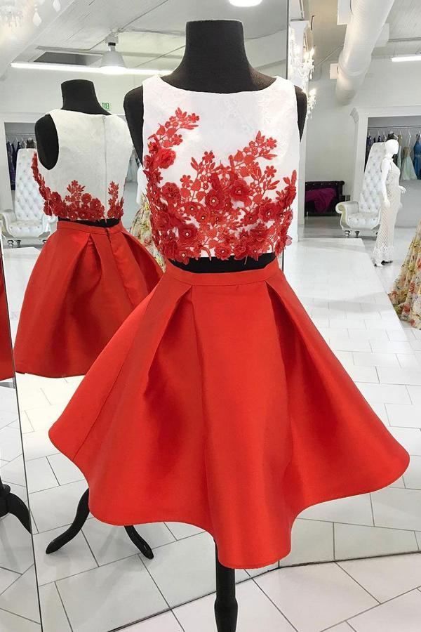 Cute Red Taffeta Skirt Two Piece Ivory Top Nice Homecoming Dresses, MH372