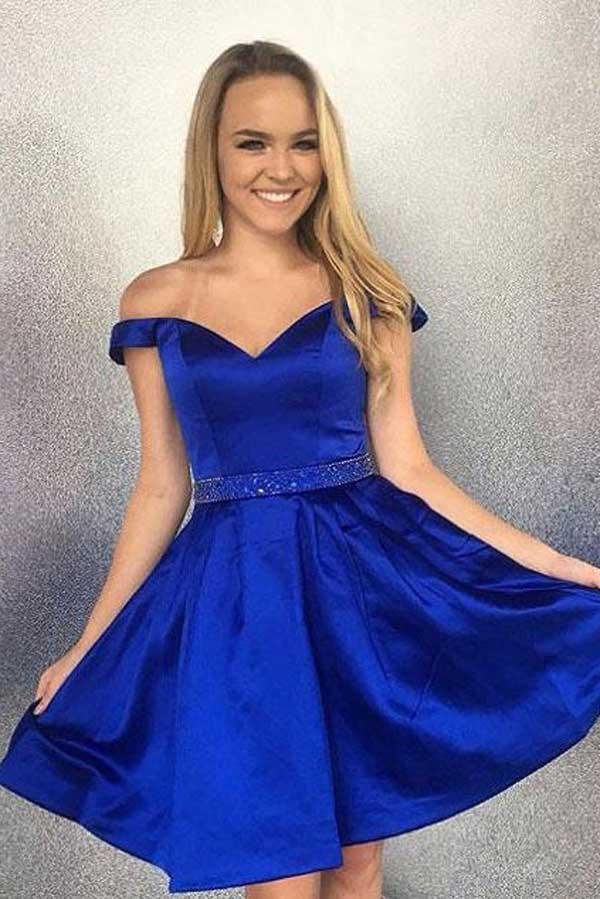 Simple Blue Satin Beaded Off Shoulder Homecoming Dresses with Pocket, MH318
