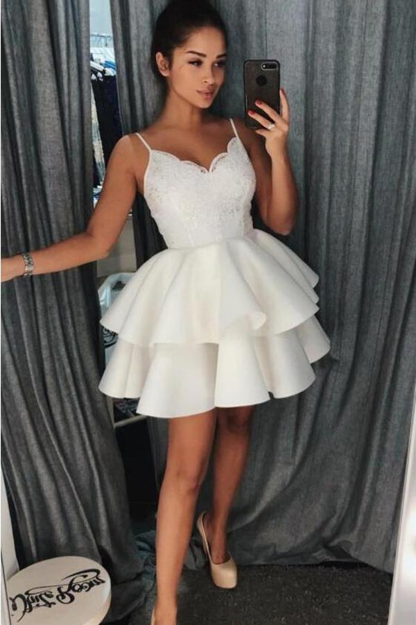 Ivory Lace Spaghetti Strap V Neck Short Homecoming Dresses Party Dress, MH232