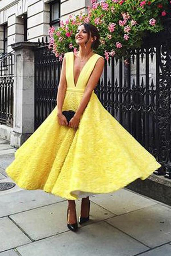 Yellow Deep V-neck Tea Length Homecoming Dress, Lace Short Prom Dresses, MH193