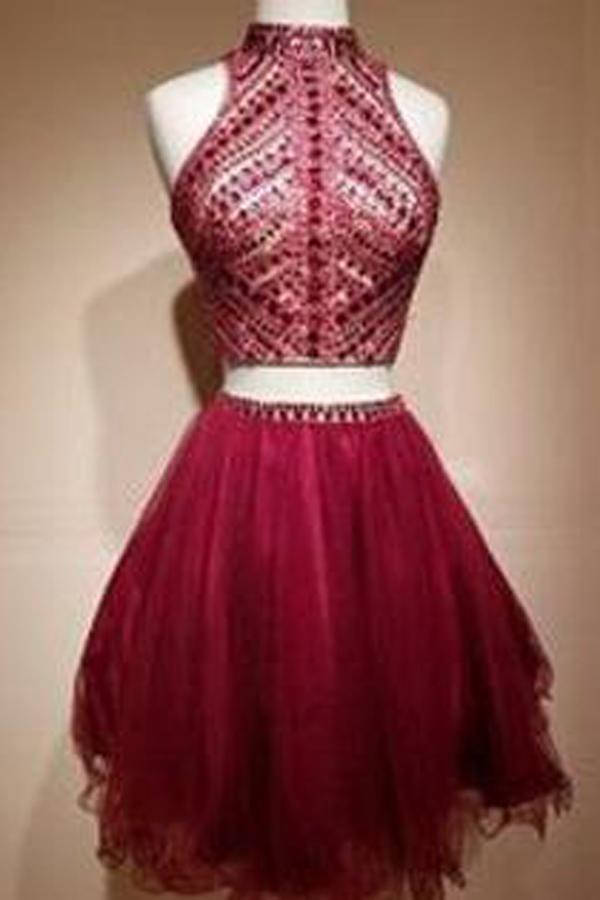 Burgundy Halter Two Piece Rhinestone Beaded Homecoming Dresses Short, MH371