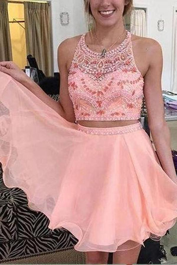 Charming Two Piece Tulle Homecoming Dress Party Dress Short Prom Dress , MH176