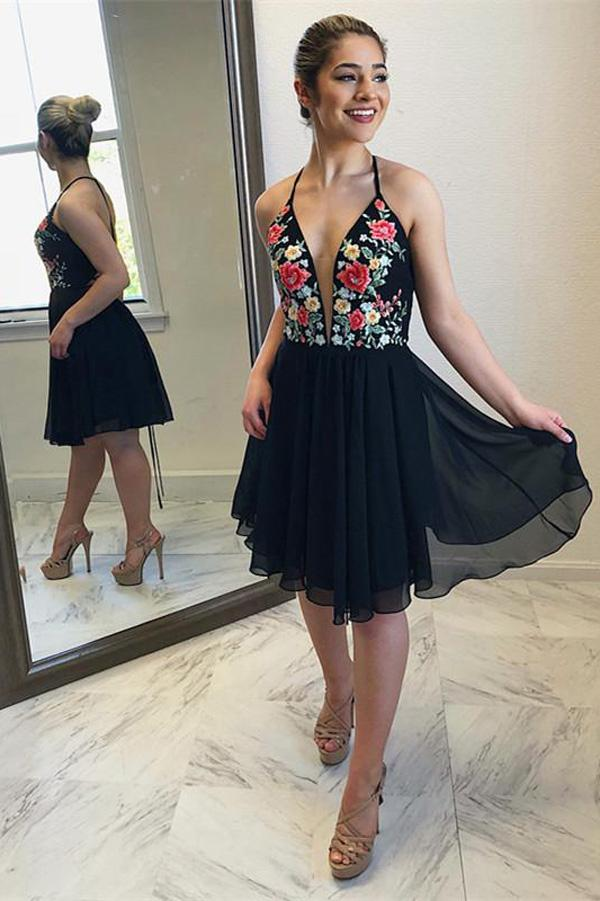 A-line Halter Chiffon Short Homecoming Dress Party Dress, Short Prom Dress, MH162