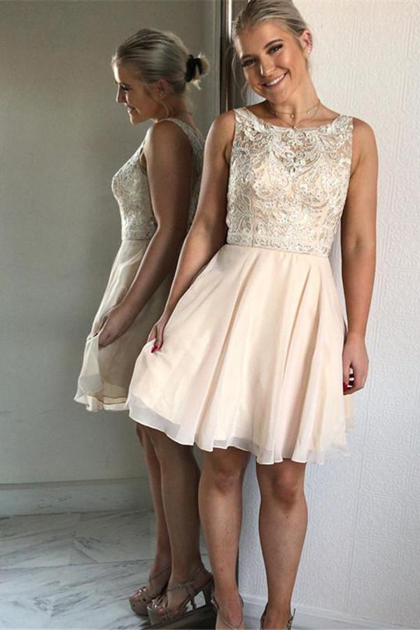 Chiffon Bateau Neckline Beaded A-line Homecoming Dress With Appliques, MH178