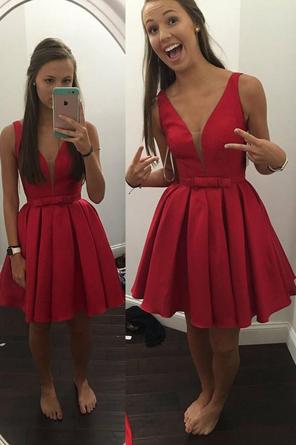 Red A-line Satin V-neck Short Prom Dresses Homecoming Dresses for Teens, MH278