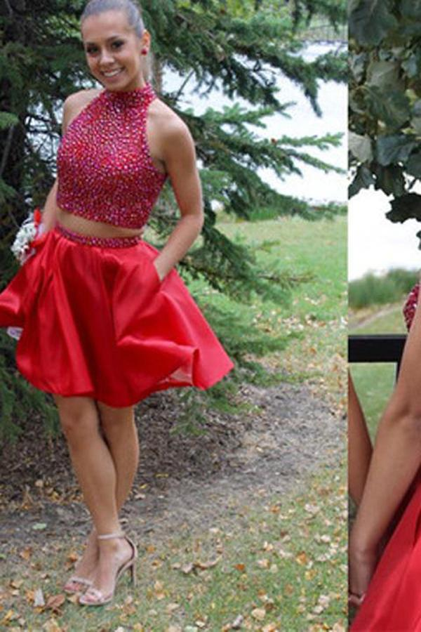 Popular Red Two Piece Blush Homecoming Dress Beaded Short Prom Dresses, MH165