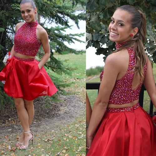 Popular Red Two Piece Blush Homecoming Dress Beaded Short Prom Dresses, MH165 at musebridals.com
