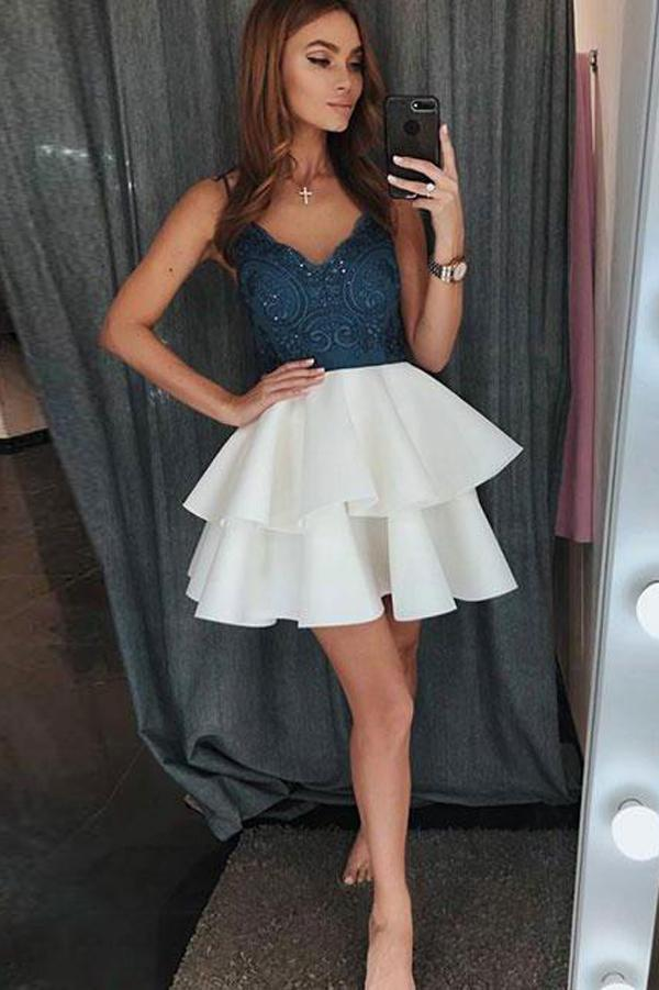 Spaghetti Straps V Neck Cheap Homecoming Dress, Lace Short Prom Dress, MH190