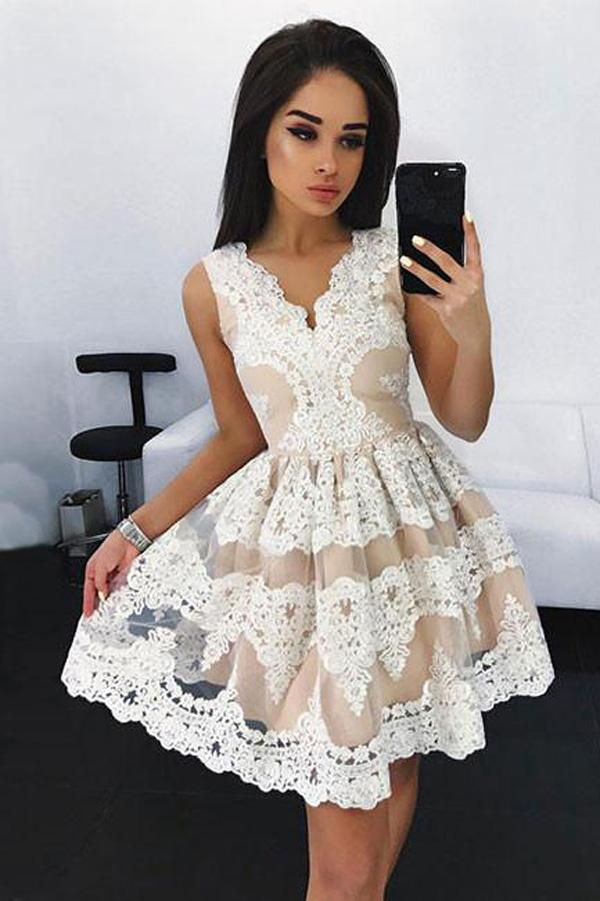 White A-line Lace Cute Homecoming Dresses, Short Prom Dresses for Teens, MH393