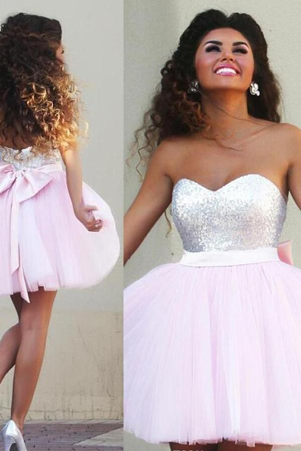 Pink Sparkly Tulle A-line Sweetheart Beaded Graduation Dresses Homecoming Dresses, MH354