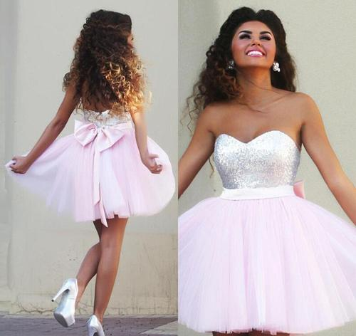 musebridals offer Pink Sparkly Tulle A-line Sweetheart Beaded Graduation Dresses Homecoming Dresses, MH354