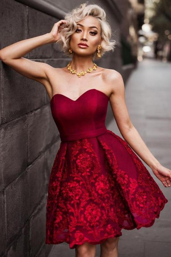 Burgundy New Arrival Sweetheart Homecoming Dress, Short Prom Dresses on line, MH157