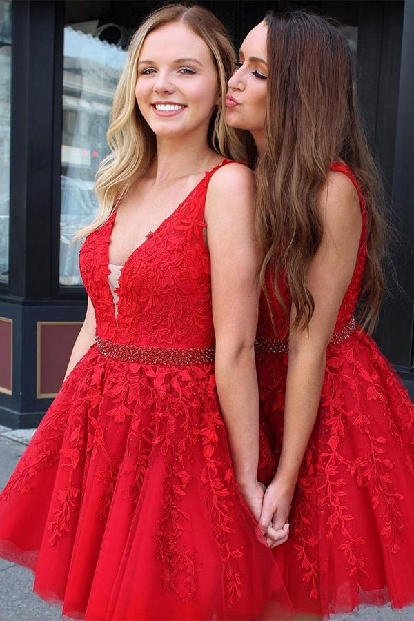 Red Tulle Lace V Neck Short Prom Dress Homecoming Dresses with Applique, MH301