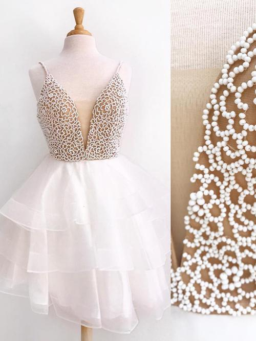 Ivory Organza Beaded V neck Spaghetti Strap Short Prom Dress Homecoming Dresses, MH230|musebridals.com