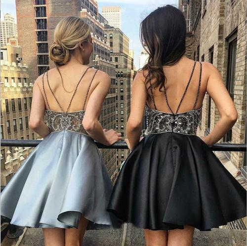musebridals.com|Silver A Line V Neck Spaghetti Straps Short Prom Dress Homecoming Dresses, MH420