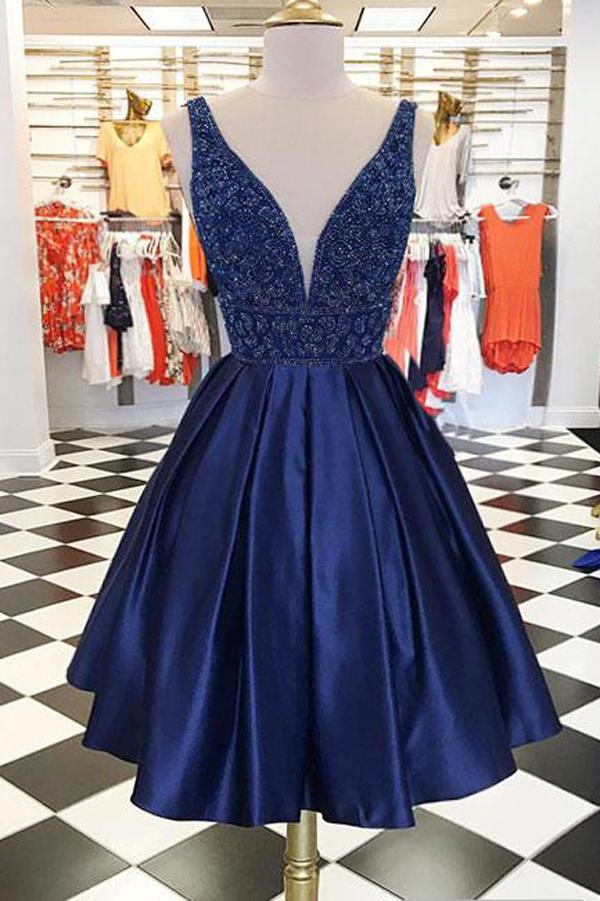 Cute Dark Blue Satin V neck Homecoming Dresses Chic Short Prom Dress, MH195