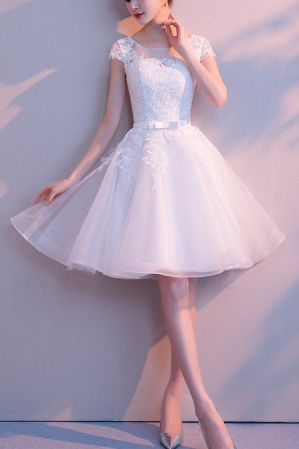 A-line Tulle White Lace Scoop Neck Homecoming Dress with Appliques, MH404