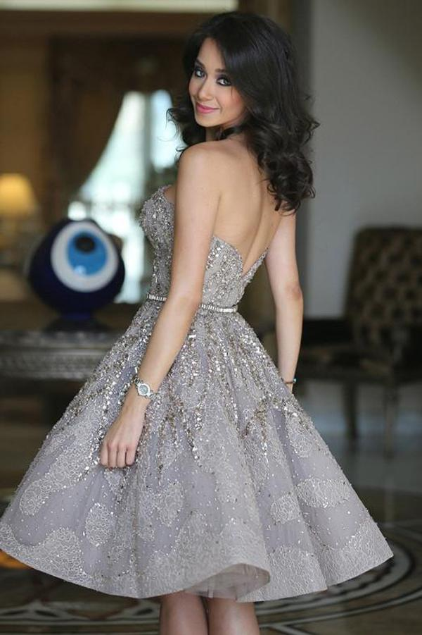 Fashion A-Line Sleeveless Off Shoulder Homecoming Dress With Sequins, MH212|Musebridals.com