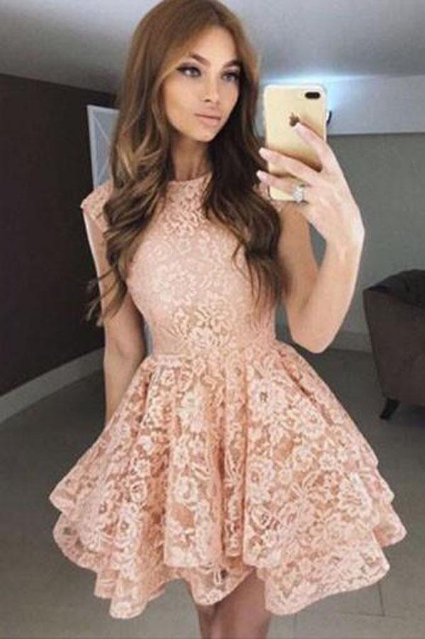 Round Neck Lace A-Line Princess Homecoming Dresses, Short Prom Dress, MH309