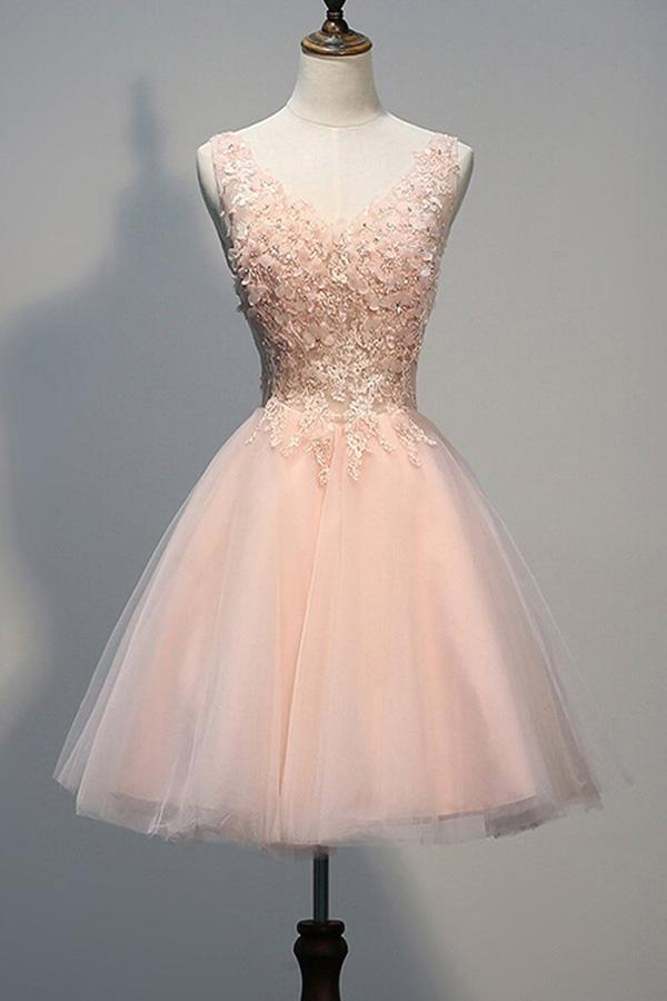 Blush Pink Backless V-neck Lace Beaded Homecoming Dresses, Short Prom Dress, MH140