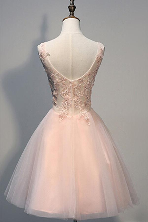 Blush Pink Backless V-neck Lace Beaded Homecoming Dresses, Short Prom Dress, MH140 at musebridals.com