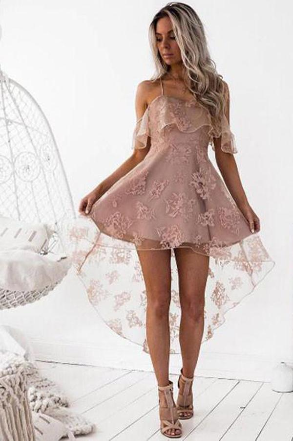 Fashion Blush A-Line Lace Off Shoulder High Low Homecoming Dress, MH211