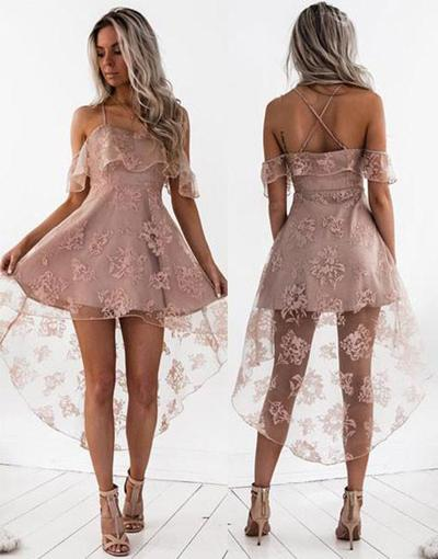 Fashion Blush A-Line Lace Off Shoulder High Low Homecoming Dress, MH211|musebridals.com