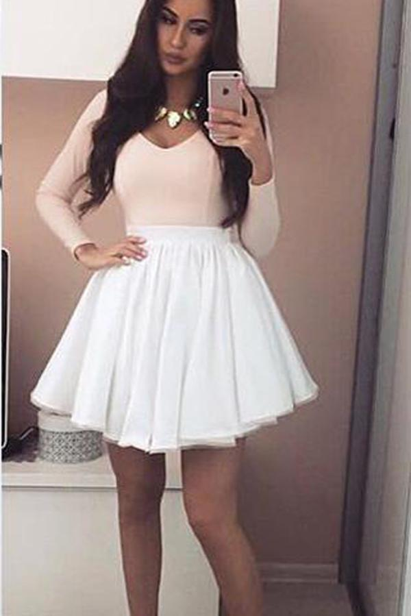 Pink White Skirt Long Sleeves Mini Grad V-neck Homecoming Dresses, MH288