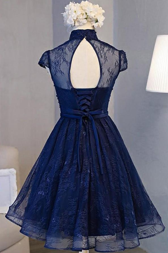 Navy Blue A-line High Neck Lace Short Sleeve Knee-length Homecoming Dresses, MH259|musebridals.com