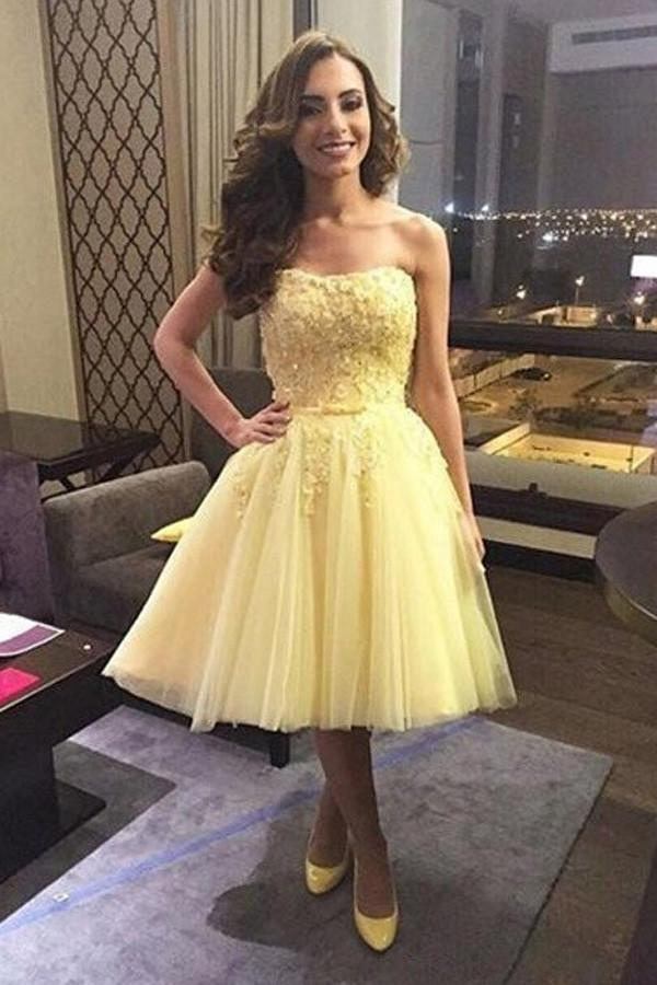 Yellow Off Shoulder A-line Tulle Homecoming Dress With Appliques, MH379