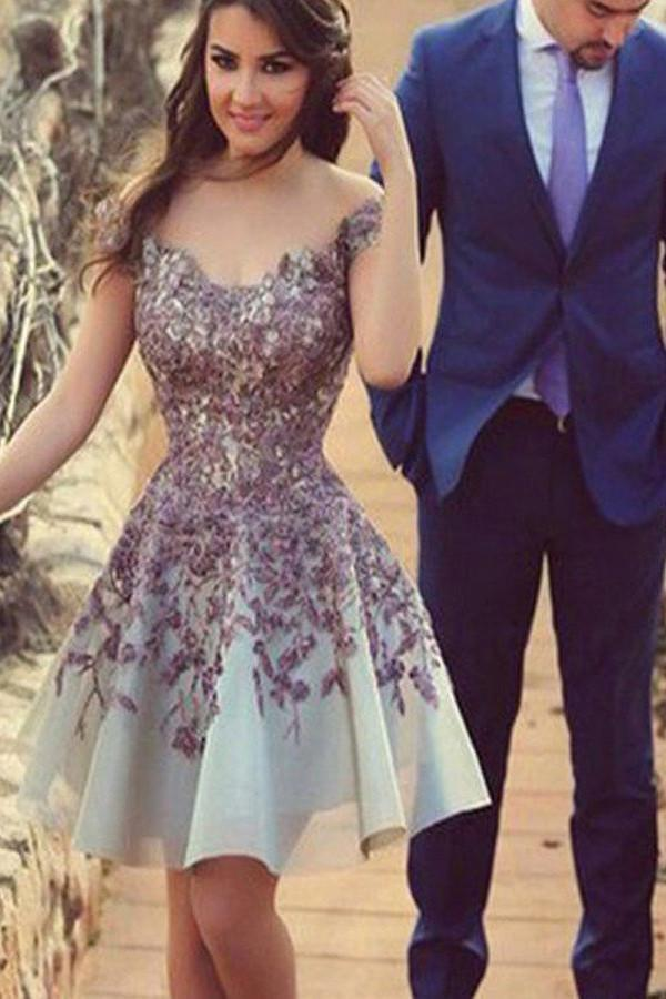 Charming Junior Homecoming Dresses, Cheap Short Prom Dress With Appliques, MH160