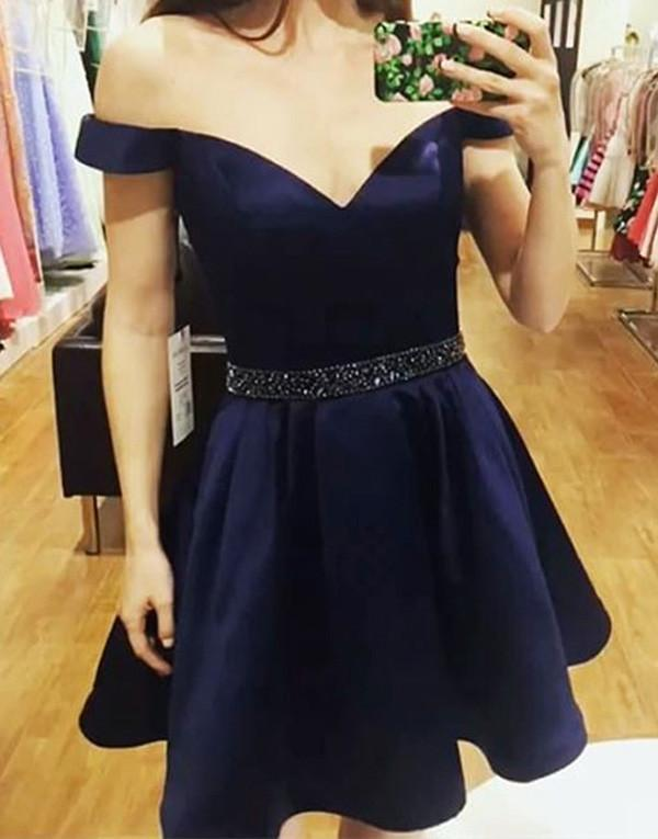 Satin Cheap Short Prom Dresses, A line Off Shoulder Homecoming Dress
