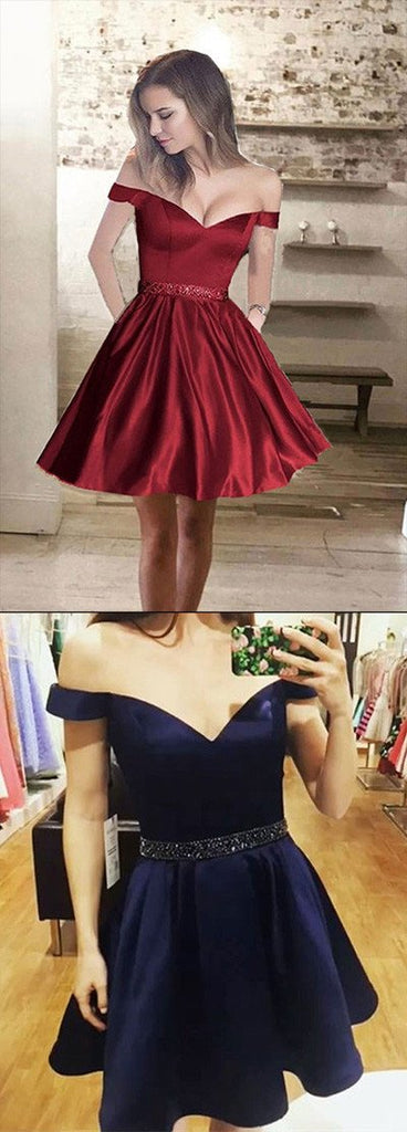 Satin Cheap Short Prom Dresses, A line Off Shoulder Homecoming Dress, MH05