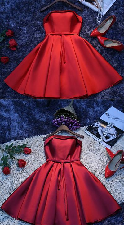 Simple Red Satin A-line Homecoming Dress, Cheap Short Party Dresses for Girls, MH305|musebridals.com