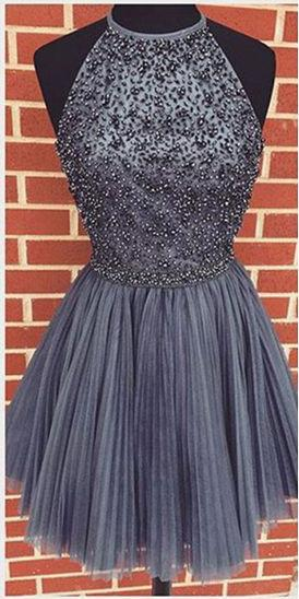 Gray Halter High Neck A-line Beaded Tulle Homecoming Dress, Short Prom Dress, MH102