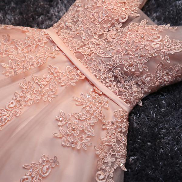 Blush Pink Short Bridesmaid Dress, Lace Appliqued Tulle Homecoming Dresses, MH141