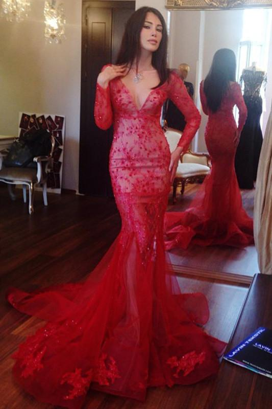 Red Beaded V-neck Mermaid Long Sleeves Prom Dress with Appliques, MP215