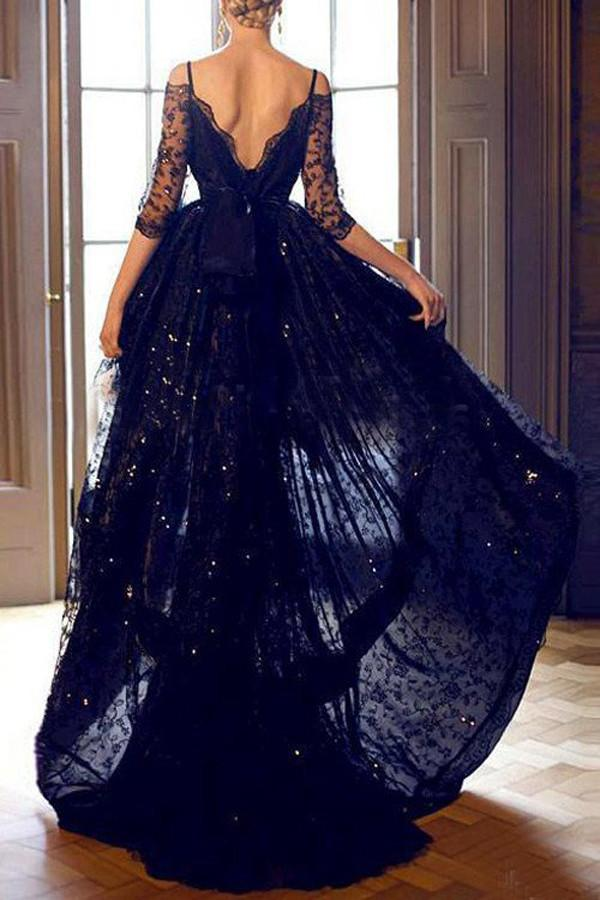 Black Lace Half Sleeves High low Prom Dresses Evening Dress With Straps, MP254