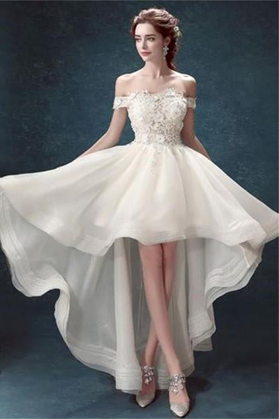 White Organza High Low Off Shoulder Cheap Wedding Dresses, MW162