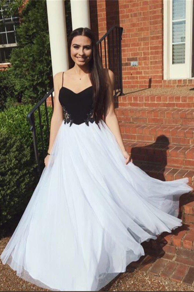 Simple Tulle Spaghetti Straps A-line Long Prom Dresses, Evening Dresses, MP290
