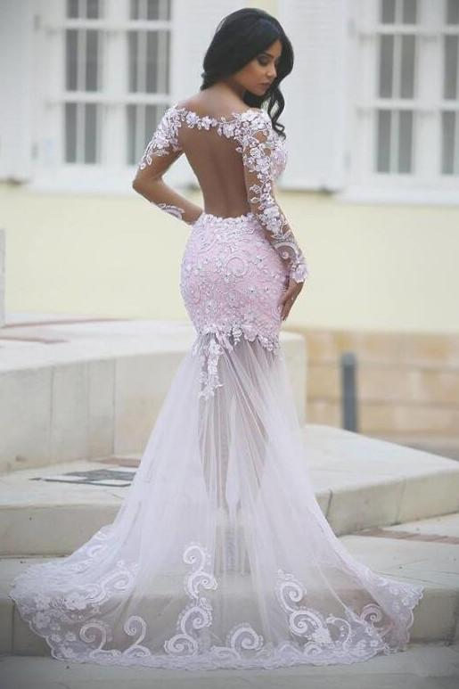 Pink Lace See Through Mermaid Long Sleeve Prom Dress, Cheap Evening Dresses, MP324