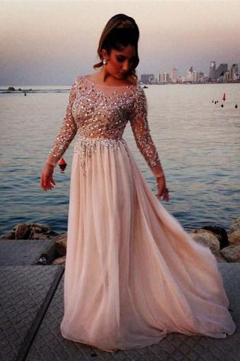 Cheap Long Sleeves Prom Dresses Long, Cocktail Evening Dresses for Woman, MP169