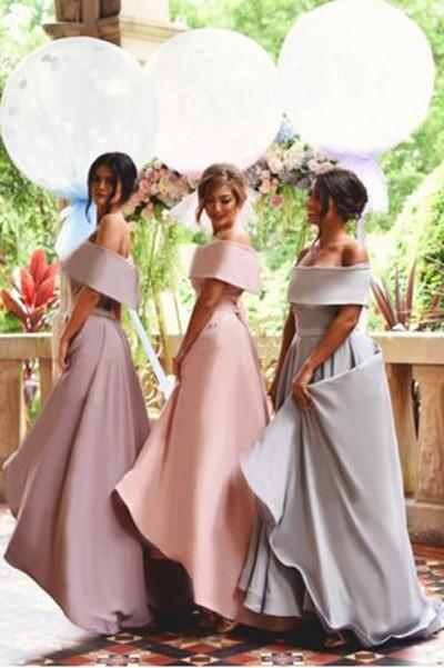 Satin Off Shoulder Wedding Party Dresses, New Arrival Bridesmaid Dresses online, MB204