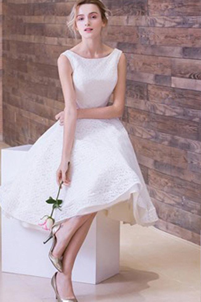 White Simple Lace Short Sleeveless Scoop Neck Prom Dresses, Wedding Party Dress, MH391