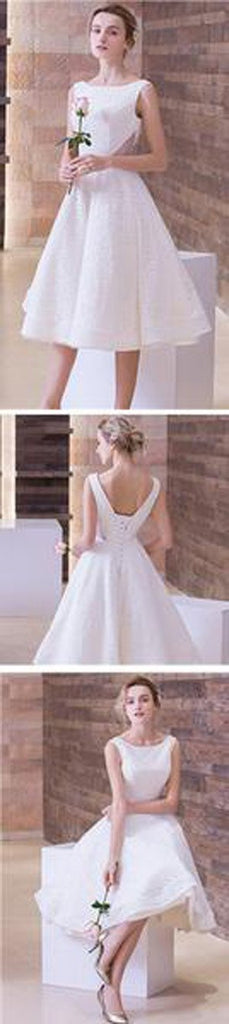 musebridals.com|White Simple Lace Short Sleeveless Scoop Neck Prom Dresses, Wedding Party Dress, MH391