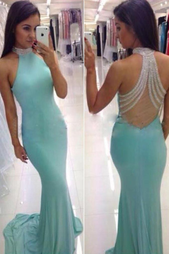 Blue High Neck Backless Mermaid Long Prom Dress, Evening Dresses for Cheap, MP135