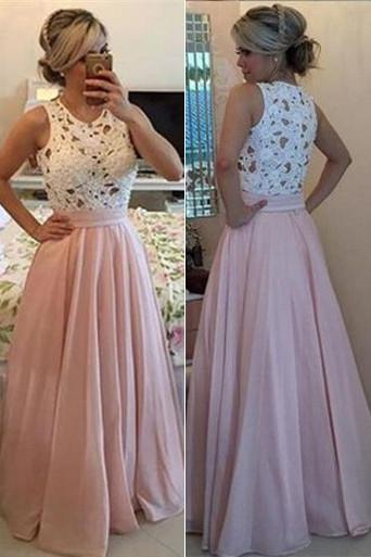 Fashion Pink Satin A-line Scoop Prom Dresses, Party Dresses for Woman, MP378