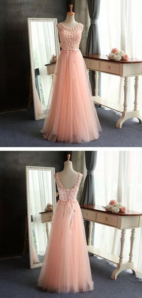 Pink A-line Tulle Scoop Neck Long Prom Dresses, Pretty Formal Dress, MP405|musebridals.com