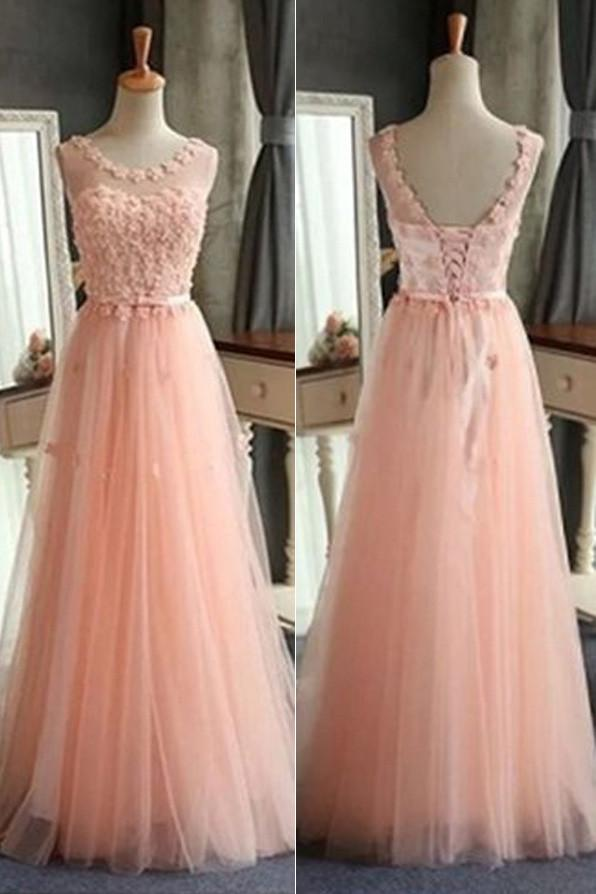 Pink A-line Tulle Scoop Neck Long Prom Dresses, Pretty Formal Dress, MP405