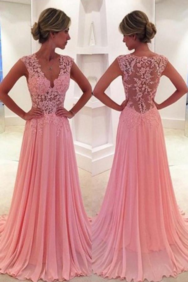 Fabulous Pink A-line V-Neck Prom Dresses,Long Lace Prom Dress with Sweep Train,SVD414